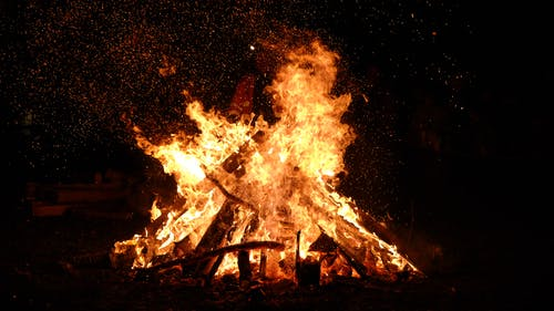This is an image of a bonfire similar to the bonfire pictured in the poem.